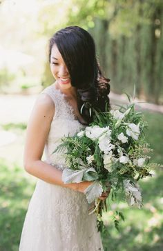 Perfectly imperfect florals. #bouquet Photography: Marvin Tsai Photography, Floral Design: Petal - petalfloral.com  Read More: http://www.stylemepretty.com/california-weddings/2014/05/09/romantic-biola-university-wedding/
