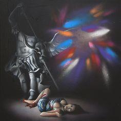 MIDNIGHT, ©2014, acrylic on canvas, 100 x 100 x 2 cm - 39,4 X 39.4 x 0.78 in  Series: 30/TRENTESIMI  #SCENOGRAPH2ART #GaeTanoAndValentina #Sem #painting #FineArt #Arte #فن #Kunst #艺术 #AcrylicOnCanvas #искусство #acrylic #アート #GaeTanoeValentina #Ceruleo #angel #angelo #ali #wings #girl #woman #nude #color #darkness #beautiful #love #MIDNIGHT