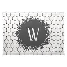 Black and White Beehive Pattern with Monogram Placemat - black gifts unique cool diy customize personalize