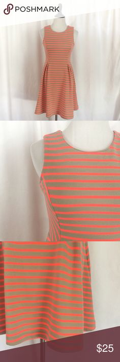 Bar III Fit & Flare Neon Striped Dress Small Beautiful Khaki and neon orange fit and flare style dress by Bar III.Zips down back. Size small. Bar III Dresses