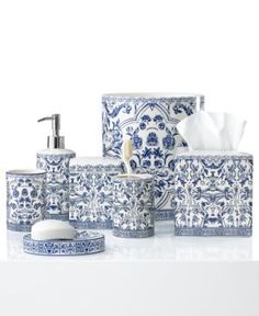 ceramic bath accessory x see more blue and white trash can - White Bathroom Accessories Ceramic