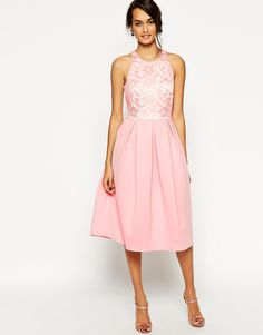 ASOS Lace Top Scuba Skater Midi Dress