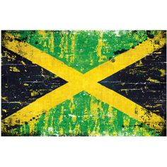 """Jamaican Flag 18"""" x 12"""" Art Print Poster Jamaica rasta flag (£13) ❤ liked on Polyvore featuring home, home decor, wall art, flag wall art, signed poster and flag poster"""