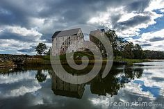 Old castle with lake and reflection, Aland Islands, Finland, Kastelholm Castle