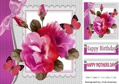 pretty shades of pink roses with butterflies and bow 8x8 on Craftsuprint - View Now!