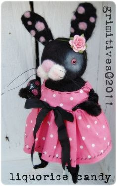 Liquorice Candy - Grimitive Needle felted Sweet Bunny Rabbit... by doll artist Kaf Grimm of GRIMITIVES