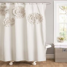 Lush Decor Flower Glamour Shower Curtain, 72 by 72-Inch, ...