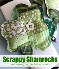 The Scrappy Shamrock is an easy project to clear out your scrap basket. Create a bunch and wrap them around a chocolate bar for an easy holi...