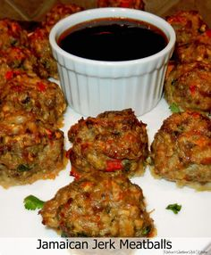 Jamaican Jerk Pork & Beef Meatballs - These Jamaican jerk meatballs are a fantastic way to enjoy Caribbean flavors as an appetizer. They're a taste of simple island goodness when served with a Caribbean sauce for dipping. Jamaican Cuisine, Jamaican Dishes, Jamaican Recipes, Jamaican Appetizers, Meatball Recipes, Meat Recipes, Appetizer Recipes, Cooking Recipes, Healthy Recipes