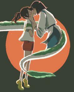 kiss, ghibli, Studio Ghibli / Spirtied Away Fan Art - pixiv Studio Ghibli Art, Studio Ghibli Movies, Film Anime, Anime Art, Spirited Away Haku, Studio Ghibli Characters, Chihiro Y Haku, Studio Ghibli Spirited Away, Hayao Miyazaki