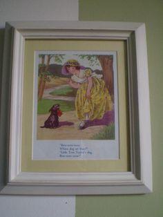 framed vintage nursery rhyme and other favorite book pages
