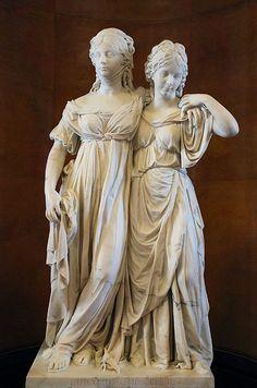 """SCHADOW Johann Gotfried  (1764-1850) - The Princesses Luise von Mecklenburg-Strelitz and Friederike von Mecklenburg-Strelitz (""""Princess Group""""), plaster model. (made 1795 und 1797, from Johann Gottfried Schadow) Luise and her sister Friederike."""
