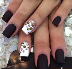Black white and gold nail art