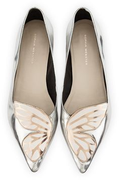 Sophia Webster Bibi Butterfly Metallic Leather Flat, Silver/Rose Gold