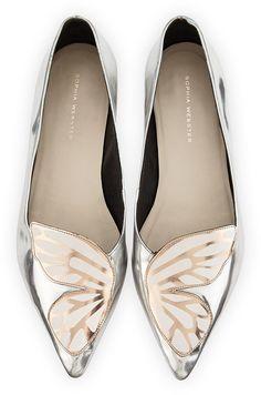 Sophia Webster Bibi Butterfly Metallic Leather Flat, Silver/Rose Gold