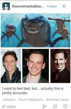 Tom Hiddleston, Michael Fassbender, & Benedict Cumberbatch
