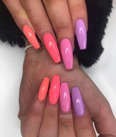 How beautiful are these! Emmie created this set using 'Coral T - Summer Acrylic Nails Acrylic Nails Coffin Short, Simple Acrylic Nails, Summer Acrylic Nails, Best Acrylic Nails, Acrylic Nail Designs, Coffin Nails, Coral Acrylic Nails, Holiday Acrylic Nails, Pink Coffin
