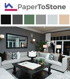 Living room color palette - black dark-grayish-azure dark-sapphire-blue tangelo