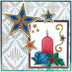 Christmas card with Sandy Art and a 3D Decoupage picture