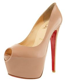 Christian Louboutin Highness Heels  (Nude Patent Leather 160MM Peep-toe Platform High Heel Shoes)