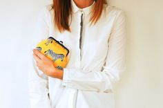 Zebras on Yellow Canvas Coin Purse Black Purse by boejackdesign
