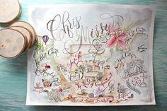 Custom Illustrated Wedding Map von eDanae auf Etsy, $375.00