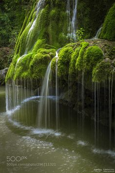 green waterfall by Norbert Liesz - Photo 296711321 / Visit Romania, Lake Water, Nature View, Natural Scenery, Water Photography, Beautiful Waterfalls, Science And Nature, Natural Wonders, Places To See