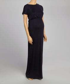 Look at this Navy Cap-Sleeve Maternity Maxi Dress on today! Cute Maternity Dresses, Maternity Shorts, Maternity Wear, Maternity Fashion, Maternity Style, Navy Cap, Mommy Style, Navy Dress, Modest Outfits