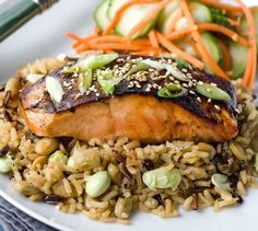Gluten Free Asian Glazed Salmon with Edamame Rice Find more at http://greekfood-recipes.com/posts/Gluten-Free-Asian-Glazed-Salmon-with-Edamame-Rice-63771