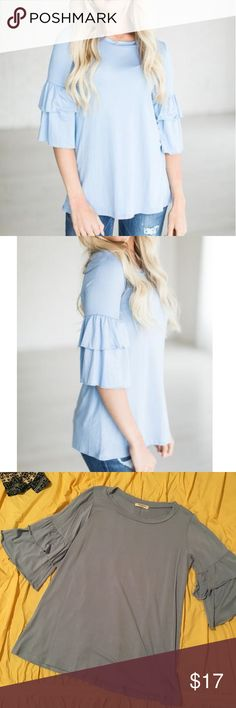 Ruffle Sleeve Blue Top *Mint* Blue shirt with ruffle sleeves. Beautiful color and soft fabric. Fabric is 96% rayon, 4% spandex. Only worn (and washed) once. Purchased from Mindy Mae's Market. *All items ship from a smoke-free, pet-free home* ✌🏻 Promesa Tops Blouses