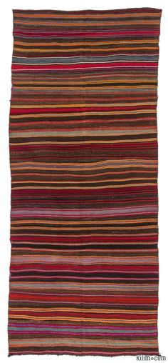 Vintage Turkish kilim rug hand-woven in 1960's. This striped rug is in very good condition.