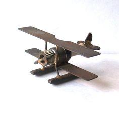 Metal Art Spark Plug BiPlane Float Plane by MargsMostlyVintage, $32.00