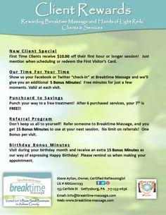 Client rewards - promotional material for Breaktime Massage