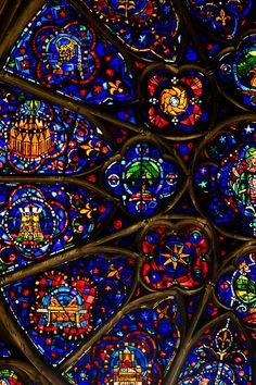 Reims Cathedral - Marc Chagall, Stained Glass Window at the Cathedral in Reims, France - Stained Glass Church, Stained Glass Art, Stained Glass Windows, Mosaic Glass, Reims Cathedral, Gothic Cathedral, L'art Du Vitrail, Rose Window, Church Windows