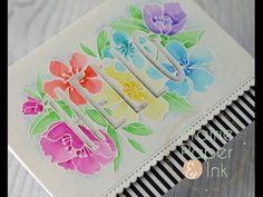 Mama Elephant Botanic Hello Card-YouTube. Watercolored with Zig Clean Color Real Brush Markers.