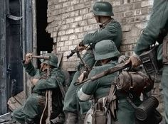German soldiers in urban combat at the Battle of Stalingrad