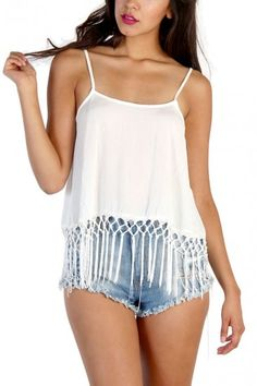 Fringe Bottom Sleeveless Top - White