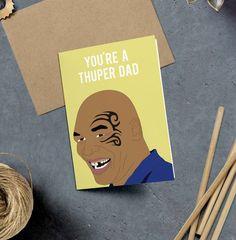 Mike Tyson Super Dad Dad Birthday Card Funny Card by GREETYOSELF