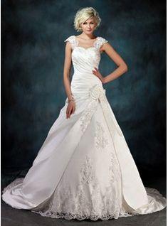 bal Cœur Traîne Chapelle Satin Tulle Robe de Mariée avec Ondulé lacet Perlé Fleurs (002000435)