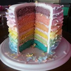 Pastel Rainbow layer cake with lilac buttercream and pastel fondant ruffles