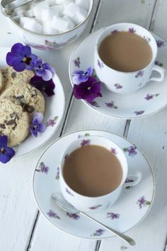 would love to have a cuppa in these, #tea #england #purple