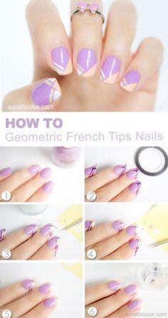 Geometric french tip nails tutorial purple spring gel nail designs Diy Nails, Cute Nails, Pretty Nails, Gorgeous Nails, Cute Spring Nails, Spring Nail Art, Summer Nails, Nail Art Mignon, Diy Ongles