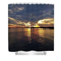 Cloud Shower Curtain featuring the photograph Sunset Reflections by Cynthia…