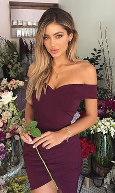 amazing maroon off shoulder dress