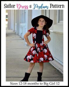 Girl's Sailor Dress & Peplum Pattern - Ellie and Mac, Digital (PDF) Sewing Patterns Kids Dress Patterns, Sewing Patterns For Kids, Clothing Patterns, Pdf Patterns, Ellie And Mac Patterns, Cute Dresses, Girls Dresses, Sailor Dress, Modest Outfits