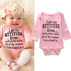 Newborn Girl Baby Kid Letter Pink Romper Bodysuit Clothes Outfits Cotton T-Shirt #ebay #Home & Garden