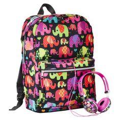 FAB Elephants Print Backpack With Headphones