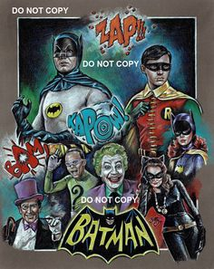 """This drawing features portraits from the TV series """"Batman"""" and includes portraits of Batman (Adam West), Robin (Burt Ward), The Penguin (Burgess. Batman And Robin - 1966 Joker Batman, Batman 1966, Batman Art, Joker And Harley, Batman Robin, Batman Stuff, Harley Quinn, Batman Tv Show, Batman Tv Series"""