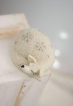 Needle Felt Fox  Dreamy White Fox Needle Felt by FeltArtByMariana
