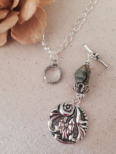 Hand crafted pewter pendant dangle beaded necklaces many marbled black taupe glass antique pewter beaded pendant necklace audiocablefo